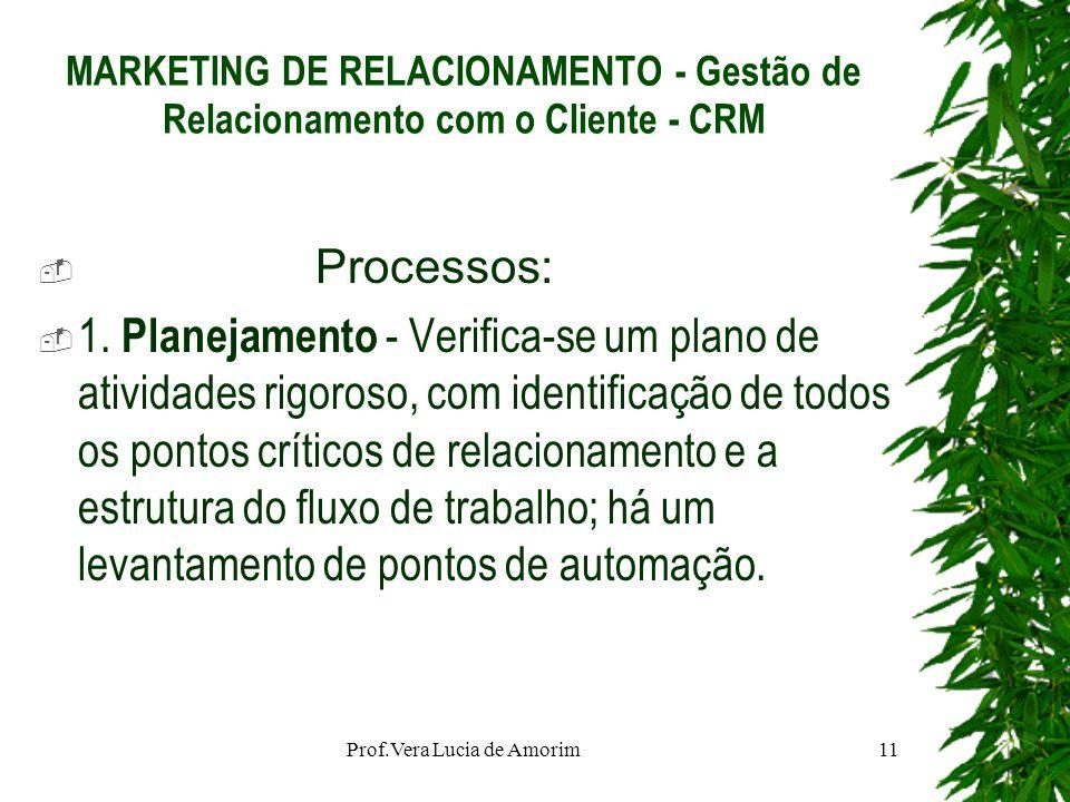 MARKETING DE RELACIONAMENTO - Gestão de Relacionamento com o Cliente - CRM Processos: 1. Planejamento - Verifica-se um plano de atividades rigoroso, c