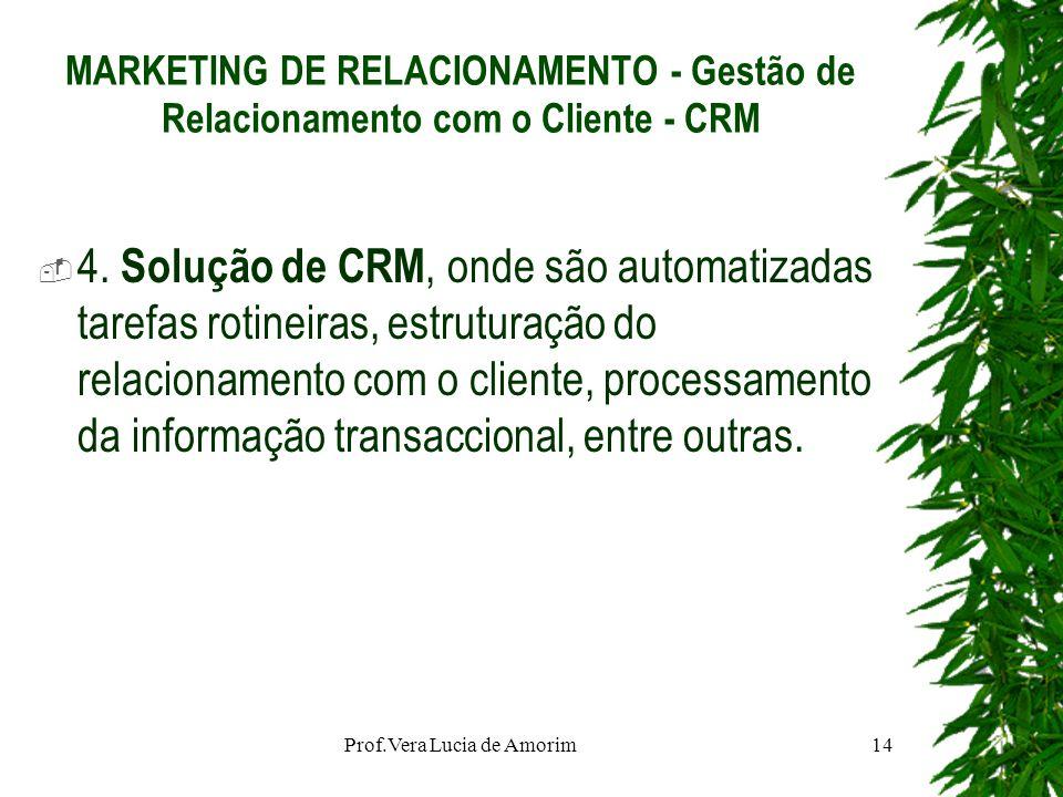 MARKETING DE RELACIONAMENTO - Gestão de Relacionamento com o Cliente - CRM 4. Solução de CRM, onde são automatizadas tarefas rotineiras, estruturação