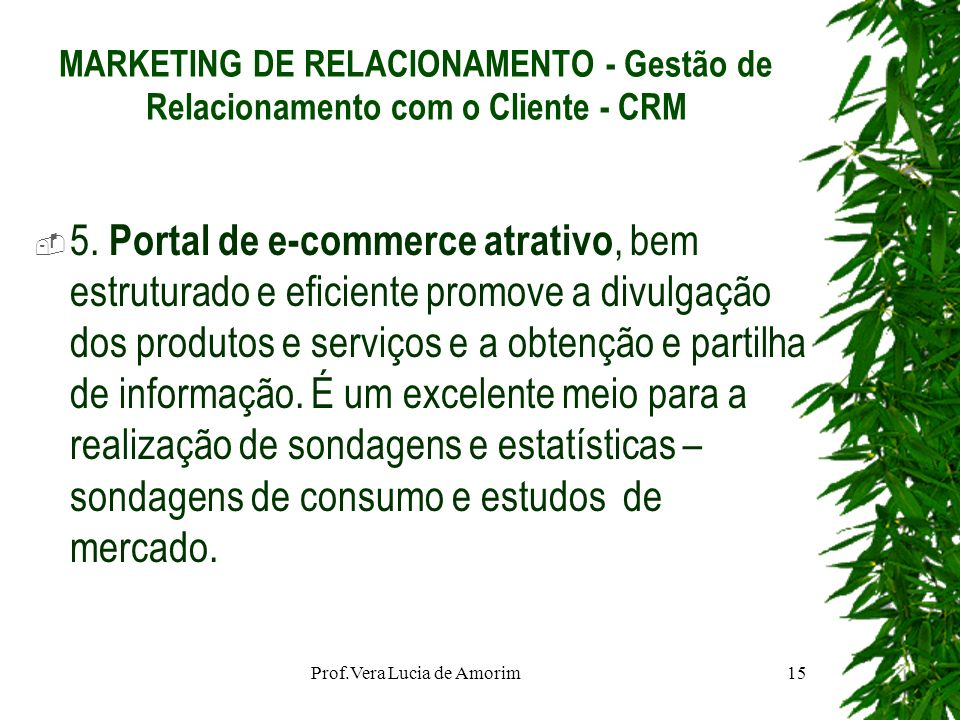 MARKETING DE RELACIONAMENTO - Gestão de Relacionamento com o Cliente - CRM 5. Portal de e-commerce atrativo, bem estruturado e eficiente promove a div