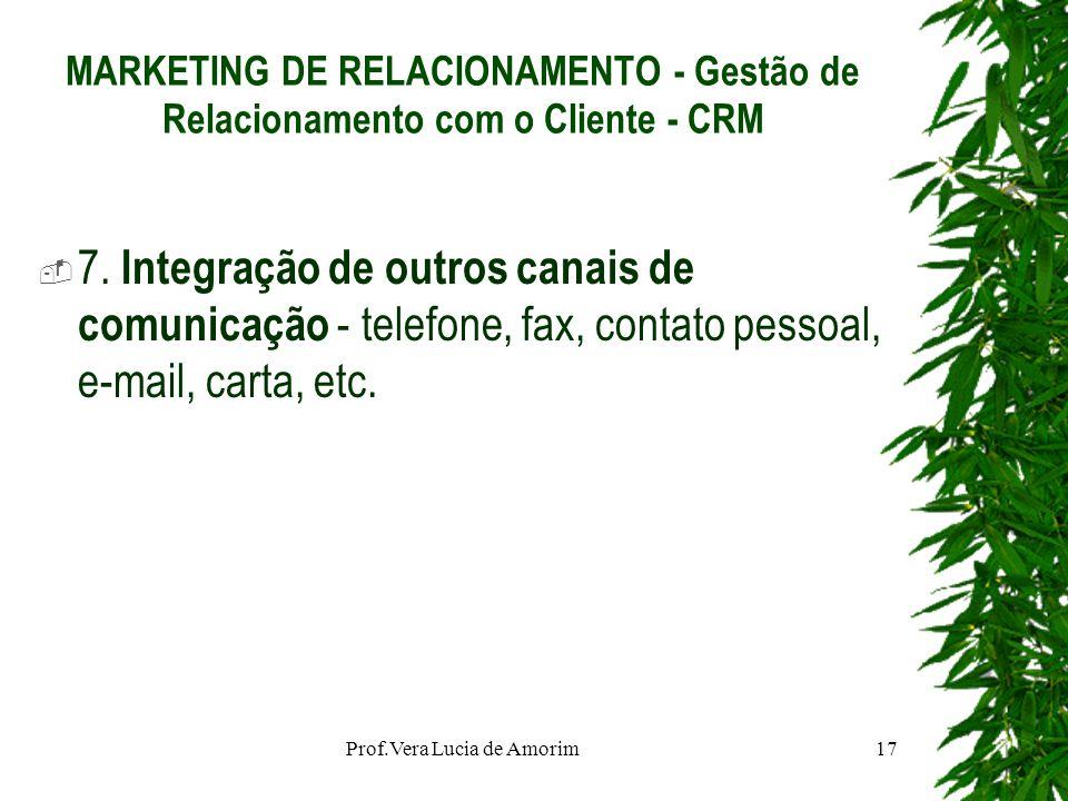 MARKETING DE RELACIONAMENTO - Gestão de Relacionamento com o Cliente - CRM 7. Integração de outros canais de comunicação - telefone, fax, contato pess