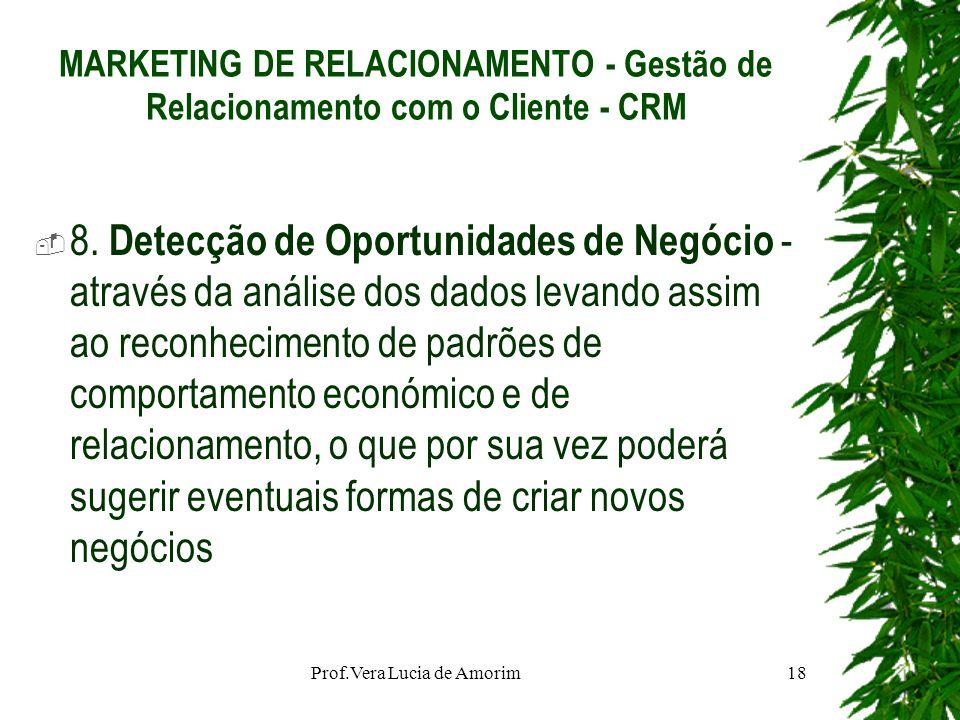 MARKETING DE RELACIONAMENTO - Gestão de Relacionamento com o Cliente - CRM 8. Detecção de Oportunidades de Negócio - através da análise dos dados leva