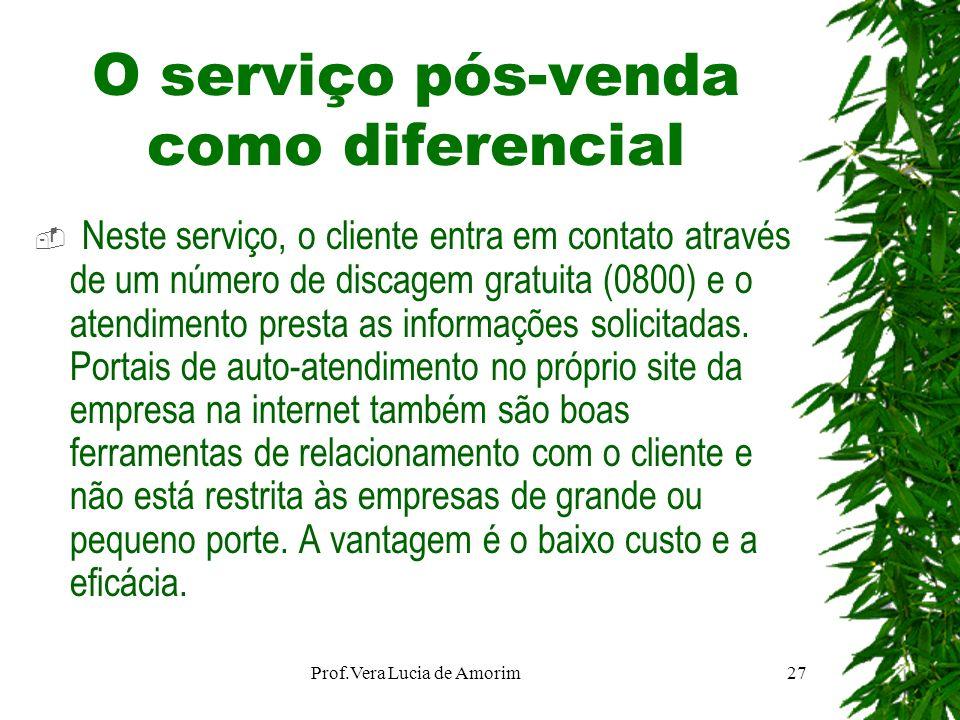 O serviço pós-venda como diferencial Neste serviço, o cliente entra em contato através de um número de discagem gratuita (0800) e o atendimento presta