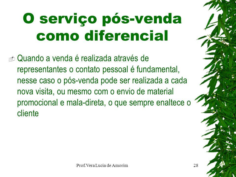 O serviço pós-venda como diferencial Quando a venda é realizada através de representantes o contato pessoal é fundamental, nesse caso o pós-venda pode