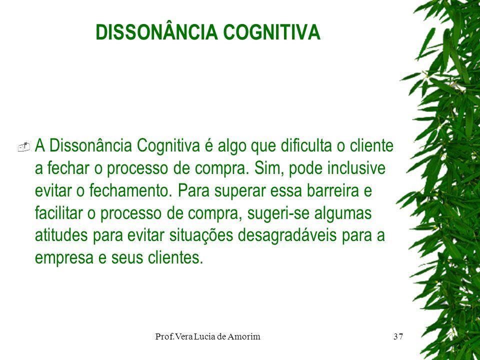 DISSONÂNCIA COGNITIVA A Dissonância Cognitiva é algo que dificulta o cliente a fechar o processo de compra. Sim, pode inclusive evitar o fechamento. P