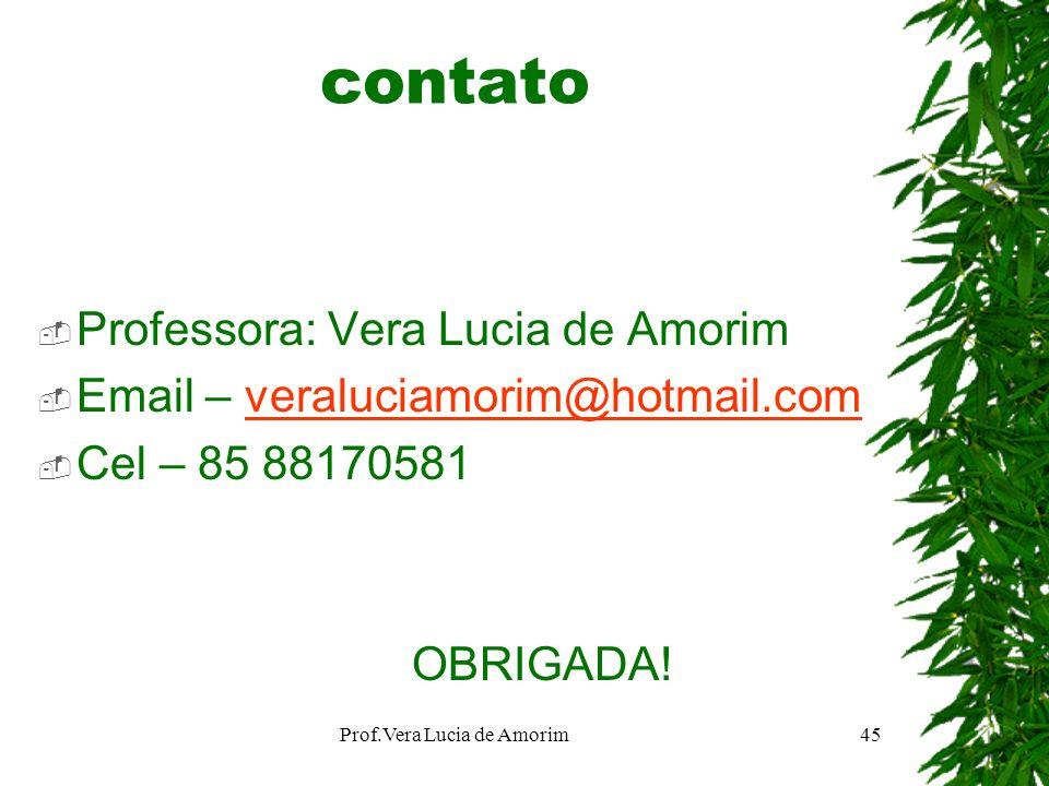 contato Professora: Vera Lucia de Amorim Email – veraluciamorim@hotmail.comveraluciamorim@hotmail.com Cel – 85 88170581 OBRIGADA! Prof.Vera Lucia de A