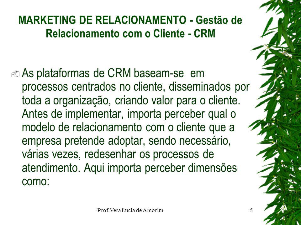 MARKETING DE RELACIONAMENTO - Gestão de Relacionamento com o Cliente - CRM As plataformas de CRM baseam-se em processos centrados no cliente, dissemin