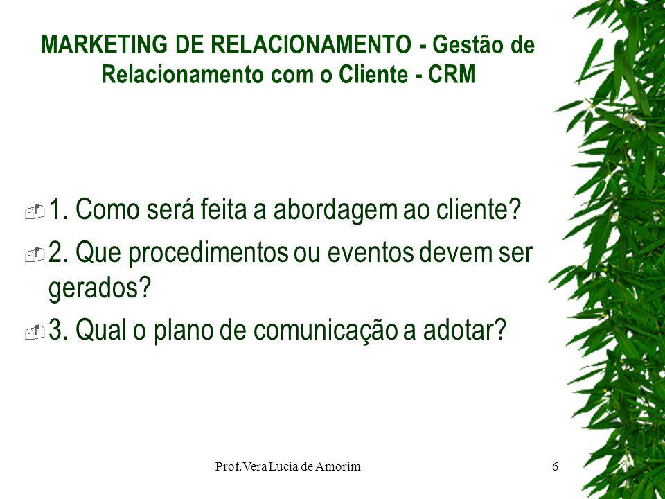 MARKETING DE RELACIONAMENTO - Gestão de Relacionamento com o Cliente - CRM 1. Como será feita a abordagem ao cliente? 2. Que procedimentos ou eventos