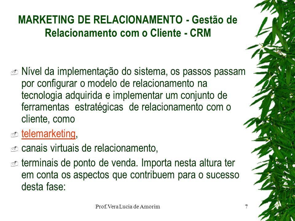 MARKETING DE RELACIONAMENTO - Gestão de Relacionamento com o Cliente - CRM Nível da implementação do sistema, os passos passam por configurar o modelo