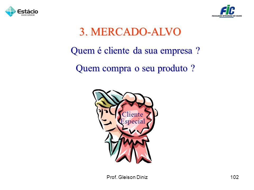 3. MERCADO-ALVO Quem é cliente da sua empresa ? Quem compra o seu produto ? Cliente Especial 102Prof. Gleison Diniz