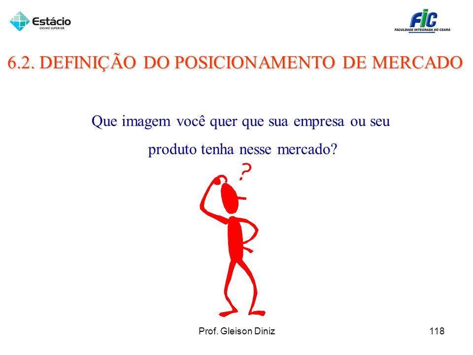 6.2. DEFINIÇÃO DO POSICIONAMENTO DE MERCADO Que imagem você quer que sua empresa ou seu produto tenha nesse mercado? 118Prof. Gleison Diniz
