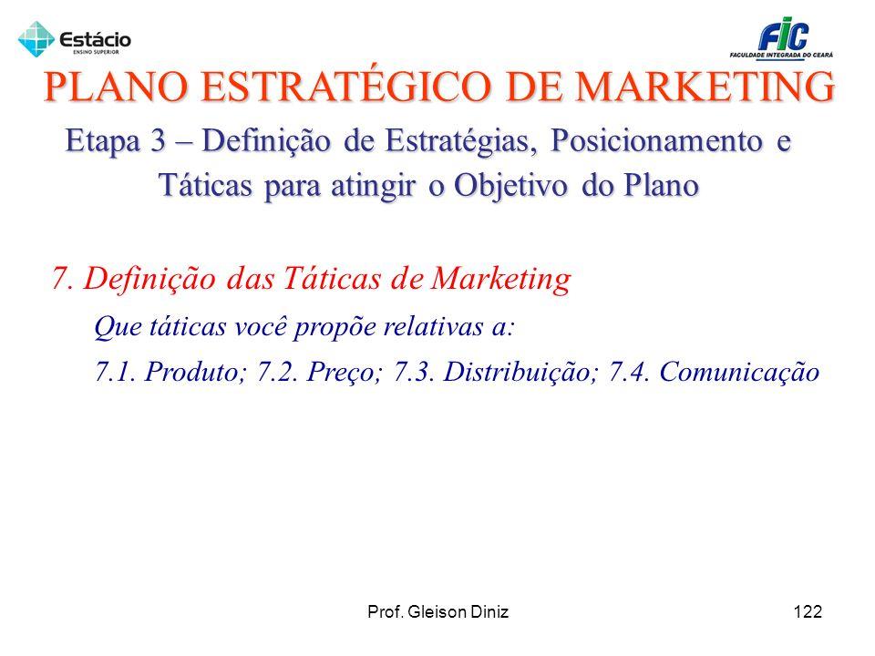 PLANO ESTRATÉGICO DE MARKETING Etapa 3 – Definição de Estratégias, Posicionamento e Táticas para atingir o Objetivo do Plano 7. Definição das Táticas