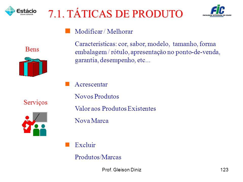 Modificar / Melhorar Características: cor, sabor, modelo, tamanho, forma embalagem / rótulo, apresentação no ponto-de-venda, garantia, desempenho, etc