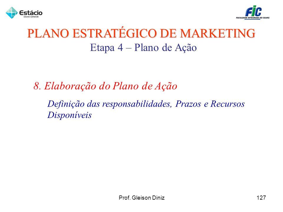 PLANO ESTRATÉGICO DE MARKETING Etapa 4 – Plano de Ação 8. Elaboração do Plano de Ação Definição das responsabilidades, Prazos e Recursos Disponíveis 1