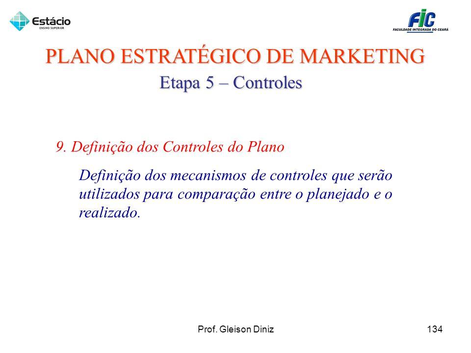 PLANO ESTRATÉGICO DE MARKETING Etapa 5 – Controles 9. Definição dos Controles do Plano Definição dos mecanismos de controles que serão utilizados para
