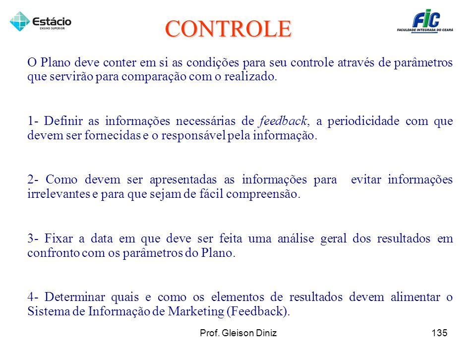 O Plano deve conter em si as condições para seu controle através de parâmetros que servirão para comparação com o realizado. 1- Definir as informações
