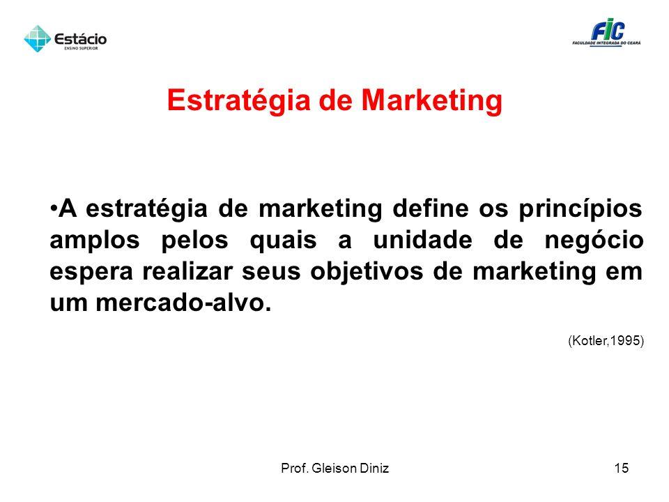 Estratégia de Marketing A estratégia de marketing define os princípios amplos pelos quais a unidade de negócio espera realizar seus objetivos de marke