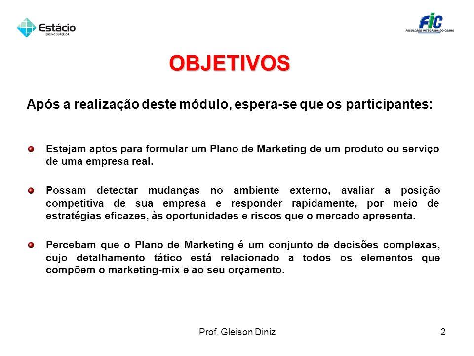 OBJETIVOS Após a realização deste módulo, espera-se que os participantes: Estejam aptos para formular um Plano de Marketing de um produto ou serviço d