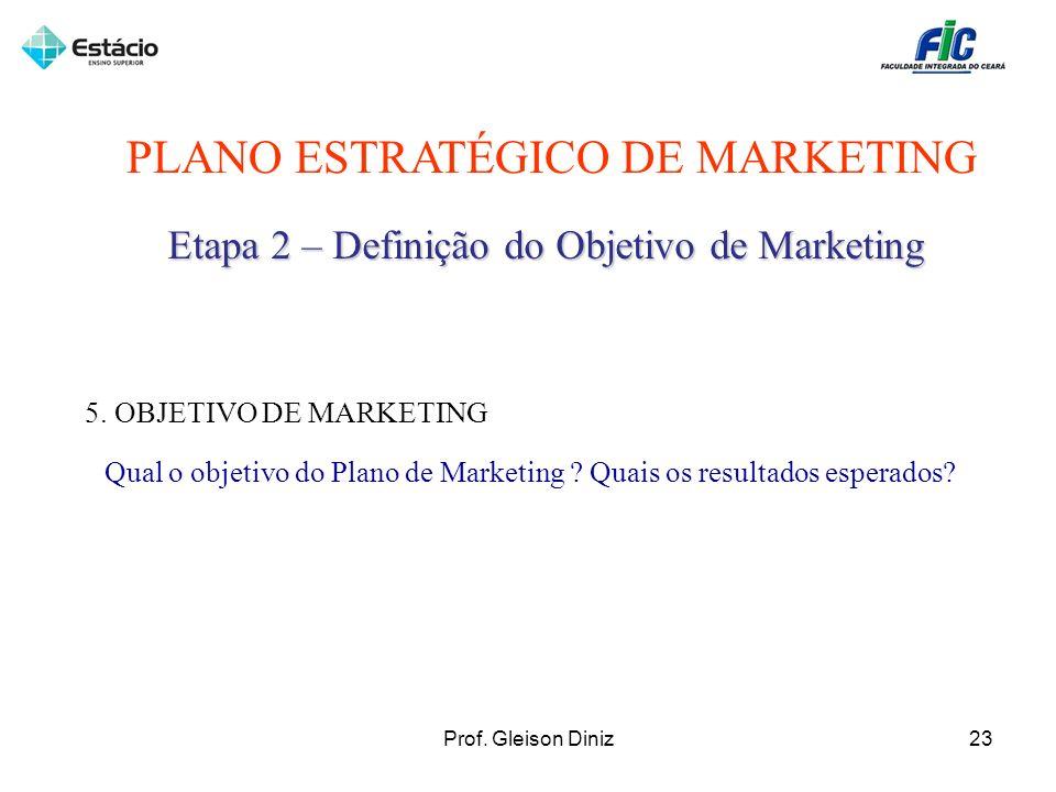PLANO ESTRATÉGICO DE MARKETING Etapa 2 – Definição do Objetivo de Marketing 5. OBJETIVO DE MARKETING Qual o objetivo do Plano de Marketing ? Quais os