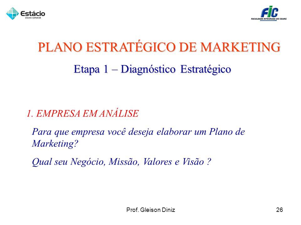 PLANO ESTRATÉGICO DE MARKETING Etapa 1 – Diagnóstico Estratégico 1. EMPRESA EM ANÁLISE Para que empresa você deseja elaborar um Plano de Marketing? Qu