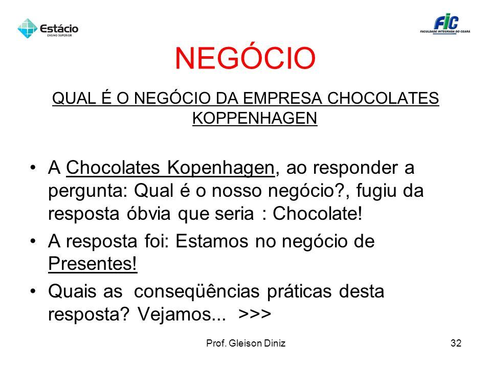 NEGÓCIO QUAL É O NEGÓCIO DA EMPRESA CHOCOLATES KOPPENHAGEN A Chocolates Kopenhagen, ao responder a pergunta: Qual é o nosso negócio?, fugiu da respost