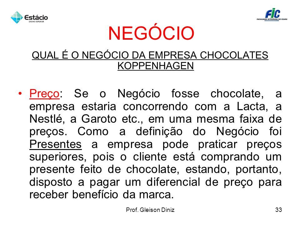 NEGÓCIO QUAL É O NEGÓCIO DA EMPRESA CHOCOLATES KOPPENHAGEN Preço: Se o Negócio fosse chocolate, a empresa estaria concorrendo com a Lacta, a Nestlé, a