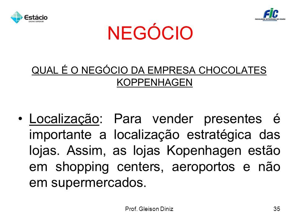 NEGÓCIO QUAL É O NEGÓCIO DA EMPRESA CHOCOLATES KOPPENHAGEN Localização: Para vender presentes é importante a localização estratégica das lojas. Assim,