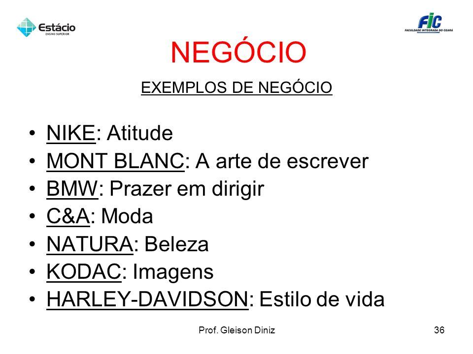 NEGÓCIO EXEMPLOS DE NEGÓCIO NIKE: Atitude MONT BLANC: A arte de escrever BMW: Prazer em dirigir C&A: Moda NATURA: Beleza KODAC: Imagens HARLEY-DAVIDSO