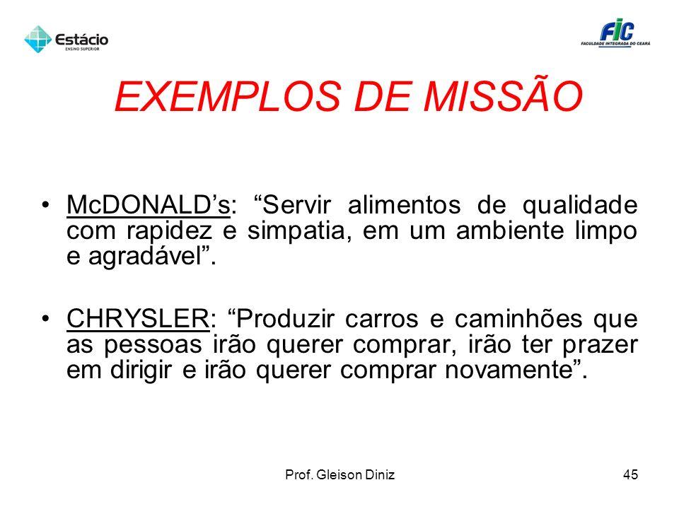 EXEMPLOS DE MISSÃO McDONALDs: Servir alimentos de qualidade com rapidez e simpatia, em um ambiente limpo e agradável. CHRYSLER: Produzir carros e cami