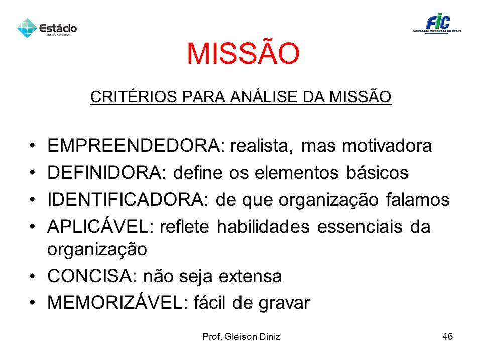 MISSÃO CRITÉRIOS PARA ANÁLISE DA MISSÃO EMPREENDEDORA: realista, mas motivadora DEFINIDORA: define os elementos básicos IDENTIFICADORA: de que organiz