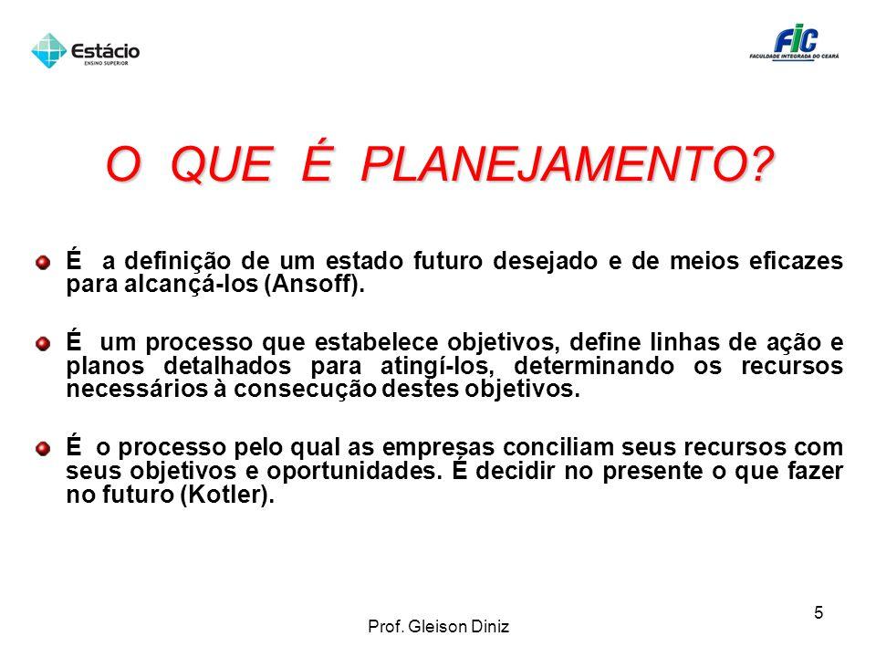 O QUE É PLANEJAMENTO? É a definição de um estado futuro desejado e de meios eficazes para alcançá-los (Ansoff). É um processo que estabelece objetivos