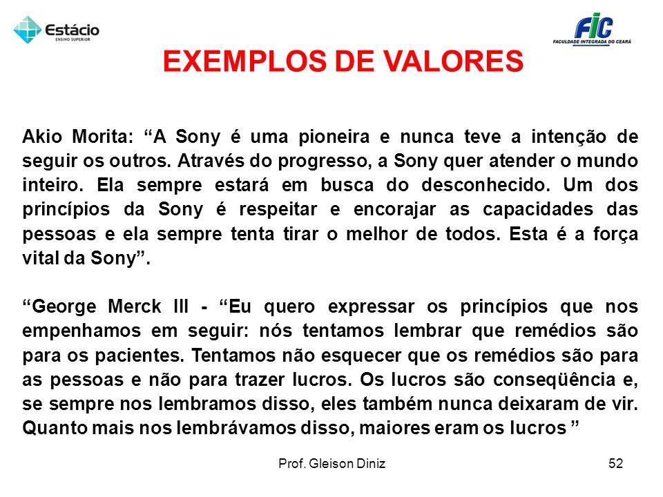 EXEMPLOS DE VALORES Akio Morita: A Sony é uma pioneira e nunca teve a intenção de seguir os outros. Através do progresso, a Sony quer atender o mundo