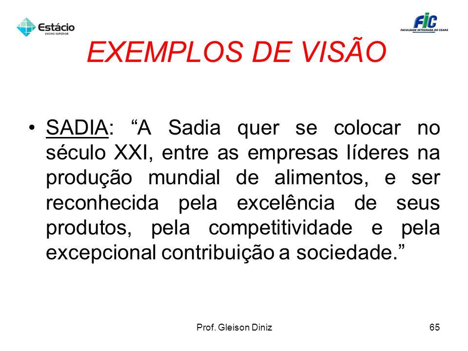 EXEMPLOS DE VISÃO SADIA: A Sadia quer se colocar no século XXI, entre as empresas líderes na produção mundial de alimentos, e ser reconhecida pela exc