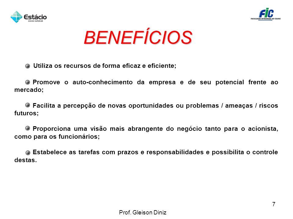 BENEFÍCIOS Utiliza os recursos de forma eficaz e eficiente; Promove o auto-conhecimento da empresa e de seu potencial frente ao mercado; Facilita a pe