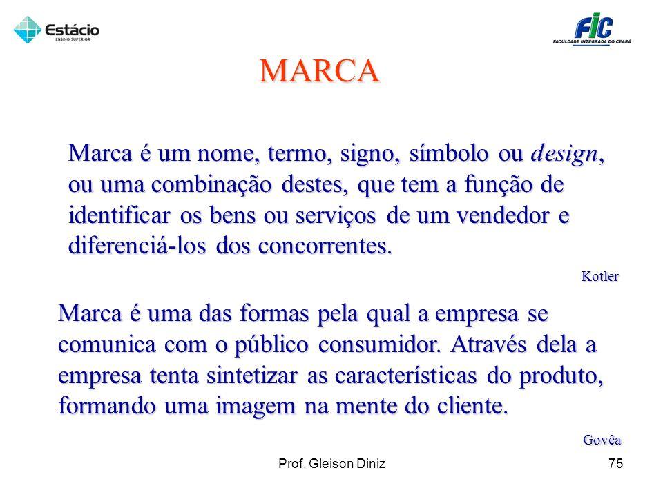 MARCA Marca é um nome, termo, signo, símbolo ou design, ou uma combinação destes, que tem a função de identificar os bens ou serviços de um vendedor e