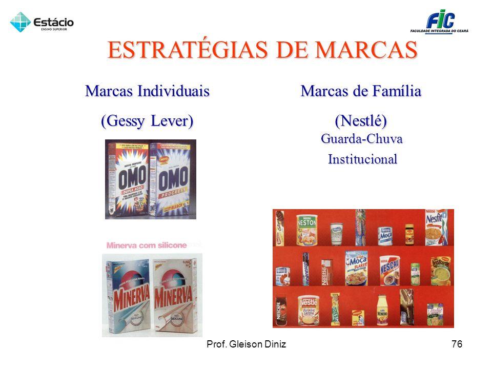 ESTRATÉGIAS DE MARCAS Marcas Individuais (Gessy Lever) Marcas de Família (Nestlé) Guarda-ChuvaInstitucional 76Prof. Gleison Diniz