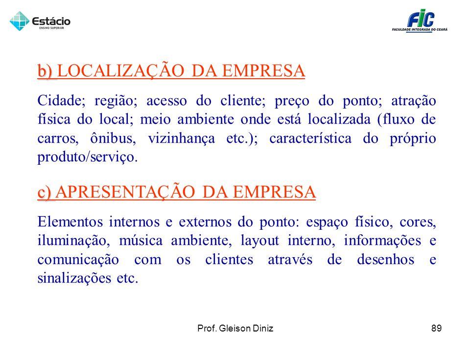 b) b) LOCALIZAÇÃO DA EMPRESA Cidade; região; acesso do cliente; preço do ponto; atração física do local; meio ambiente onde está localizada (fluxo de