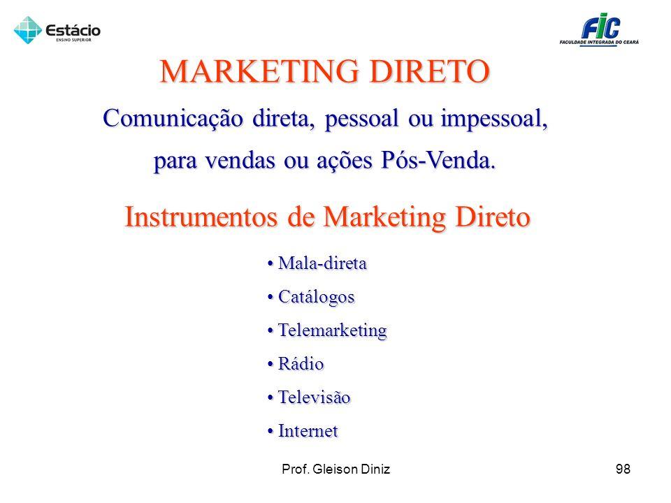 MARKETING DIRETO Comunicação direta, pessoal ou impessoal, para vendas ou ações Pós-Venda. Instrumentos de Marketing Direto Mala-direta Mala-direta Ca