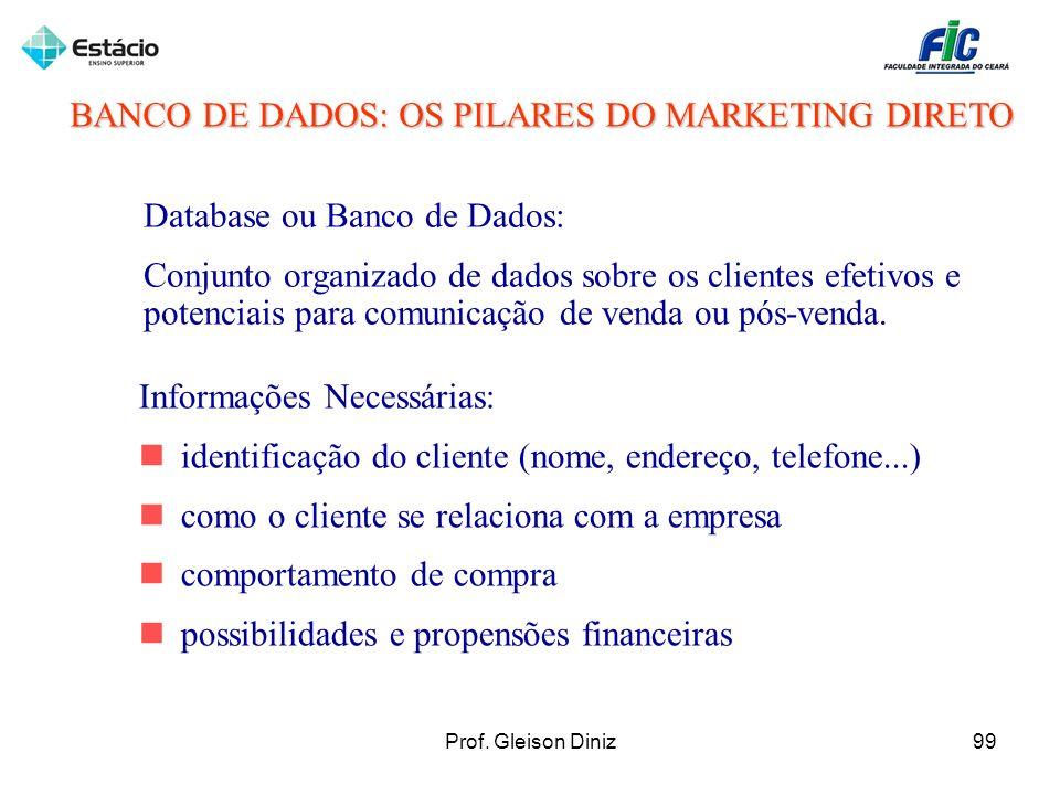 BANCO DE DADOS: OS PILARES DO MARKETING DIRETO Database ou Banco de Dados: Conjunto organizado de dados sobre os clientes efetivos e potenciais para c