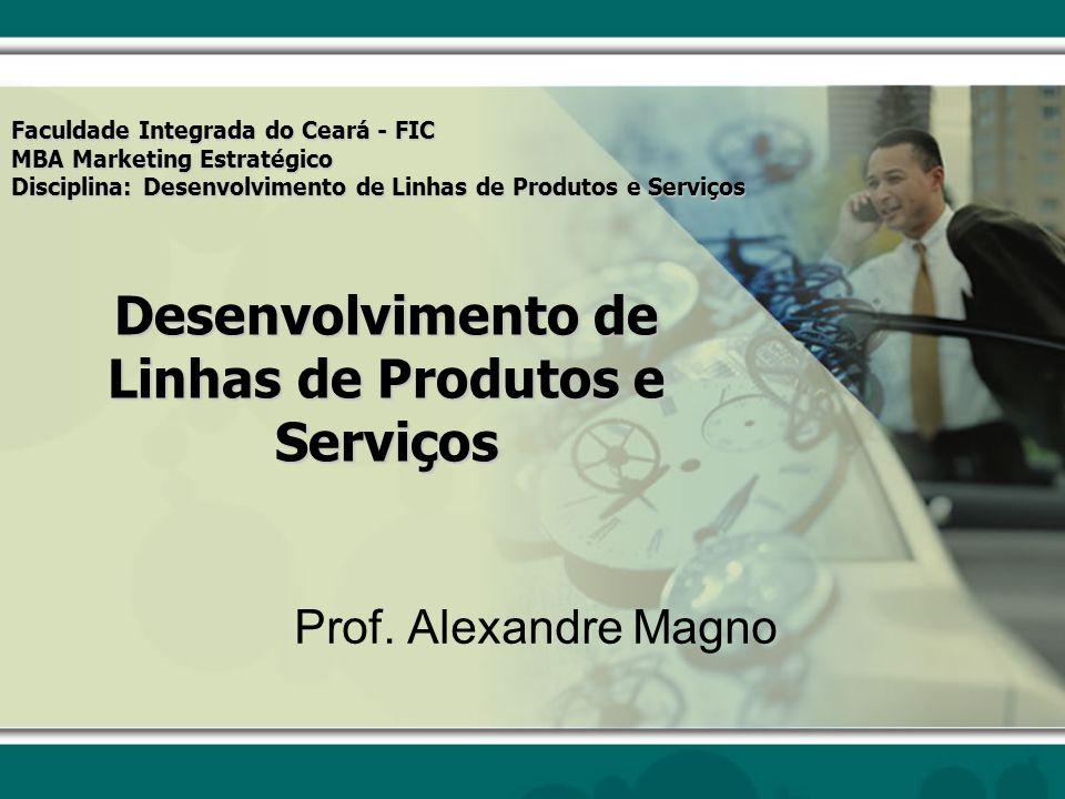 Desenvolvimento de Linhas de Produtos e Serviços Prof. Alexandre Magno Faculdade Integrada do Ceará - FIC MBA Marketing Estratégico Disciplina: Desenv