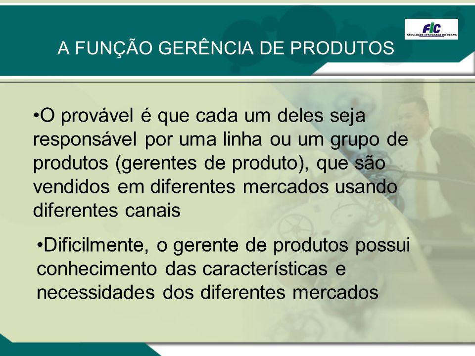 A FUNÇÃO GERÊNCIA DE PRODUTOS O provável é que cada um deles seja responsável por uma linha ou um grupo de produtos (gerentes de produto), que são ven