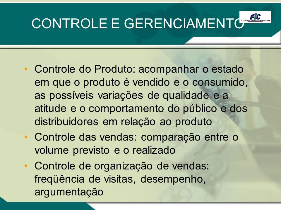 CONTROLE E GERENCIAMENTO Controle do Produto: acompanhar o estado em que o produto é vendido e o consumido, as possíveis variações de qualidade e a at
