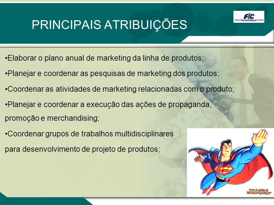 PRINCIPAIS ATRIBUIÇÕES Elaborar o plano anual de marketing da linha de produtos; Planejar e coordenar as pesquisas de marketing dos produtos; Coordena