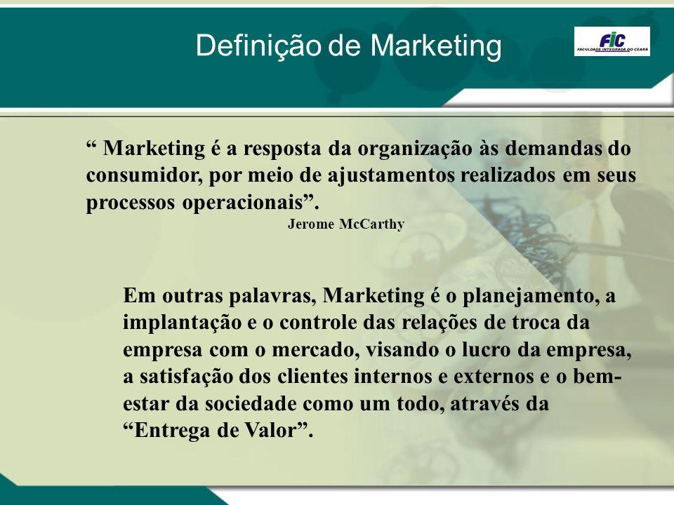 Em outras palavras, Marketing é o planejamento, a implantação e o controle das relações de troca da empresa com o mercado, visando o lucro da empresa,