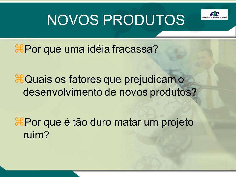 NOVOS PRODUTOS Por que uma idéia fracassa? Quais os fatores que prejudicam o desenvolvimento de novos produtos? Por que é tão duro matar um projeto ru