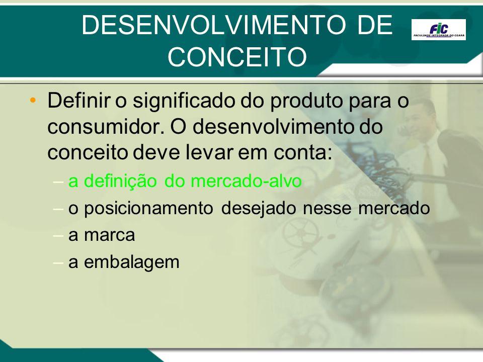 DESENVOLVIMENTO DE CONCEITO Definir o significado do produto para o consumidor. O desenvolvimento do conceito deve levar em conta: –a definição do mer