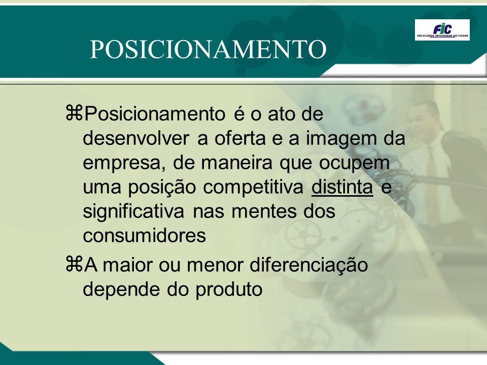 Posicionamento é o ato de desenvolver a oferta e a imagem da empresa, de maneira que ocupem uma posição competitiva distinta e significativa nas mente