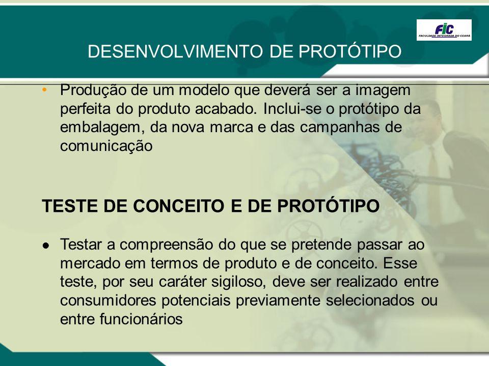 DESENVOLVIMENTO DE PROTÓTIPO Produção de um modelo que deverá ser a imagem perfeita do produto acabado. Inclui-se o protótipo da embalagem, da nova ma