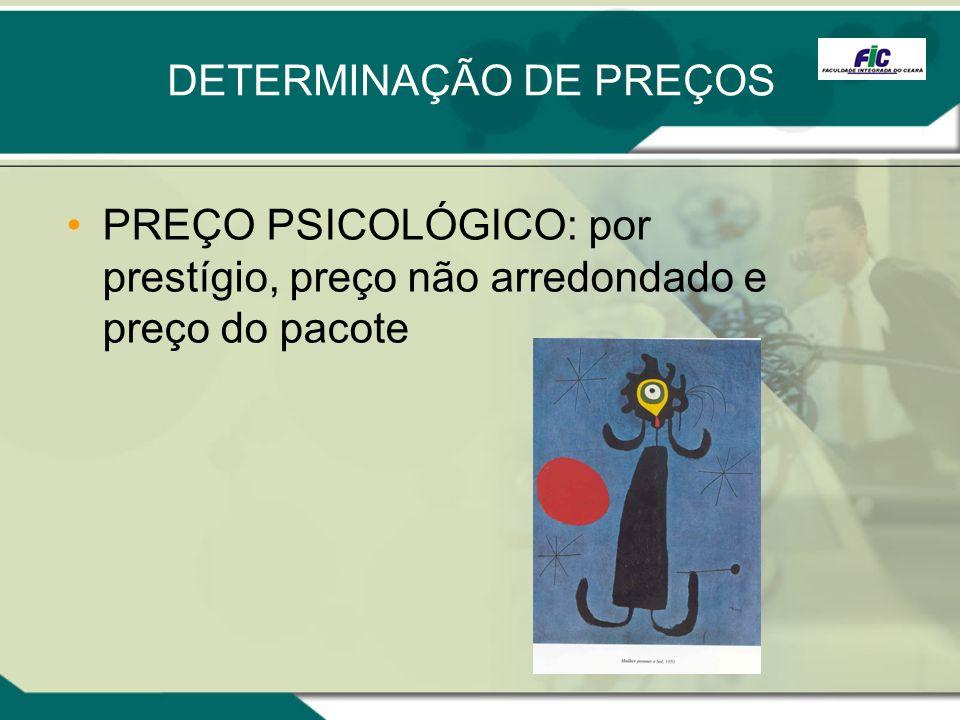 DETERMINAÇÃO DE PREÇOS PREÇO PSICOLÓGICO: por prestígio, preço não arredondado e preço do pacote