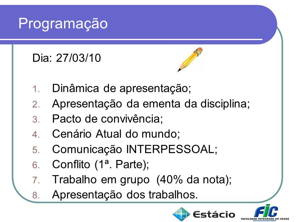 Programação Dia: 27/03/10 1. Dinâmica de apresentação; 2. Apresentação da ementa da disciplina; 3. Pacto de convivência; 4. Cenário Atual do mundo; 5.