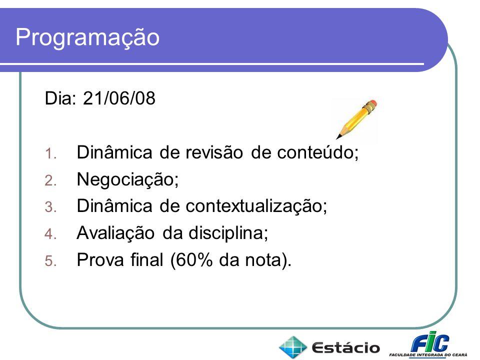 Programação Dia: 21/06/08 1. Dinâmica de revisão de conteúdo; 2. Negociação; 3. Dinâmica de contextualização; 4. Avaliação da disciplina; 5. Prova fin